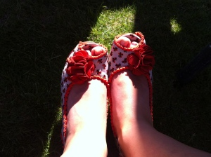 My beautiful shoes on my already swollen feet!